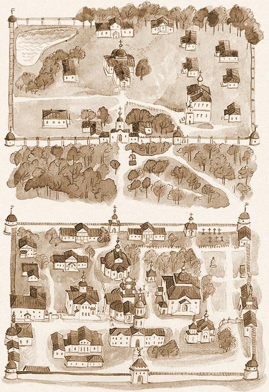 Оптина Пустынь. План монастыря и скита